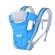 Angelparty Soft Cotton Ergonomic Baby Carrier | Adjustable 4 Positions Front and Back Carrier | Pouch Bag Wrap Soft Structured Ergonomic Infant Sling | Blue