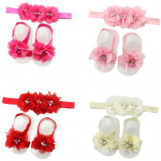 4pairs rhinestone pearl barefoot sandal shoes elastic flower headband for baby girls kids toddler infant clothing accessories