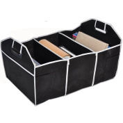 Medifier Multipurpose Foldable Car Cargo Storage Case Sturdy Storage - Foldaway Feature for Travel Vacation Camping Black