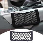 Zyurong Black Universal Car Seat Side Back Pocket Storage Organiser Nylon Net Bag Phone Holder L