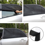 XFAY 126x52cm Universal Car Sun Shade Cover for Car Side Window - Provide UV Protection Fresh Air Flow for Baby, Children, Kids and Pets - High Quality Black Nylon Mesh Material - 2 pieces