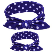 CHIC-CHIC 2pcs Kids Toddler Baby Girls Cute Headband Rabbit Ear Hair Bow Women Retro Stylish Wire Hair Band Scarf Wrap