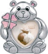 PHOTO HOLDER KIKKE SILVER TEDDY BEAR PINK ENAMEL CM12 X 10 SILVER LAMINATE MADE IN ITALY