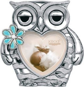 PHOTO HOLDER OWL DESIGN SILVER BLUE ENAMEL KIKKE CM12 X 10 SILVER LAMINATE MADE IN ITALY