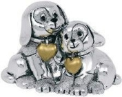 CHILDRENS SILVER TORQUE DOGS KIKKE CM5 X 7 SILVER ENAMEL GOLD LAMINATE MADE IN ITALY
