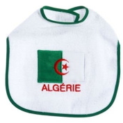 Baby Bib with Embroidery of the Algerian Flag King Bear