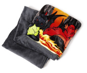 NICI 39815 Dragon Plush Blanket, Grey/Red/Yellow