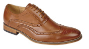 Boys Shoe Tan Brogue Oxford Lace Up Wedding Formal Christening