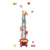Winhappyhome Fire Ladder Kids Height Measurement Chart Stickers Wall Art Decals for Children Bedroom Nursery Background Removable Decor Decal