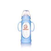 baby bottle glass double wide calibre anti dropping anti flatulence with Straw