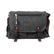 Anself Men's Vintage Canvas Crossbody Satchel Shoulder Casual Messenger Bag Black