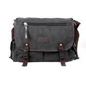 Anself Men's Vintage Canvas Crossbody Satchel Shoulder Casual Messenger Bag Black
