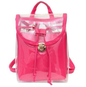 Drasawee Women Clear Transparent PVC School Backpack Girl's Lovely Jelly Casual Shoulder Daypacks Fashion Travel Beach Bag Rosy Red
