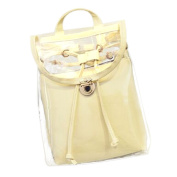Drasawee Women Clear Transparent PVC School Backpack Girl's Lovely Jelly Casual Shoulder Daypacks Fashion Travel Beach Bag Beige