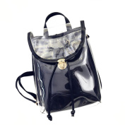 Drasawee Women Clear Transparent PVC School Backpack Girl's Lovely Jelly Casual Shoulder Daypacks Fashion Travel Beach Bag Black