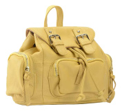 SAIERLONG MsBP Ladies Designer Womens Light Yellow Cowhide Genuine Leather Daily Casual Backpack