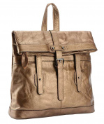 SAIERLONG MsBP Ladies Designer Womens Gold Cowhide Genuine Leather Daily Casual Backpack
