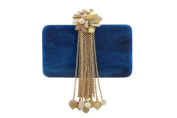 wowww Blue And Golden Resin High Fashion Clutch