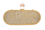 wowww Ivory And Golden Capsule High Fashion Clutch
