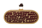 wowww Maroon And Golden Capsule High Fashion Clutch
