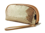 HOYOFO Bling Gliter Toiletry Travel Jewellery Clutch Cosmetic Bag Organiser,Gold