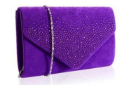 Purple Velvet Diamante Clutch Bag