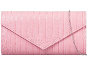 Womens Ladies Faux Leather Croc Effect Fold Over Flap Prom Party Evening Dressy Occasion Hand Clutch Bags - U90