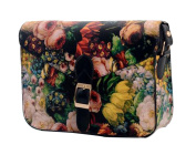 SBD Ladies Vintage Floral Oil Painting PU Leather Message Bag Cross Body Shoulder Bags