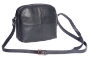Womens Leather Shoulder Bag Multi Zip top Compartments Navy Cross body handbag A939