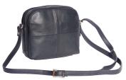 Womens Leather Shoulder Bag Multi Zip top Compartments Navy Cross body handbag A939