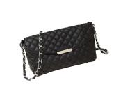aimerfeel designer style quilted faux leather cross body handbag with long chain, black or beige