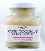 Rose Coconut Organic Body Scrub 100% Natural With Bamboo Spoon 350g Stretch Marks & Cellulite, Exfoliating Body Scrub - Soften Skin - Smooth Skin Before Tanning - Improve Circulation, Stimulate Collagen and Fight Ageing - Reduce Ingrown Hairs, Bumps, a ..