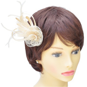 Cream Satin Loops, Sinamay & Feather Plume Fascinator on Spring Clip/ Pin