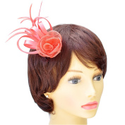 Coral Satin Loops, Sinamay & Feather Plume Fascinator on Spring Clip/ Pin