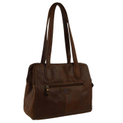 Ladies Cowhide Leather Shoulder Bag Handbag by Rowallan Solent Collection Cognac