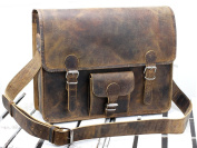 Scaramanga Brown 41cm Leather Satchel With Pocket