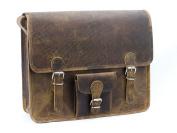 Scaramanga Brown 38cm Leather Satchel With Pocket