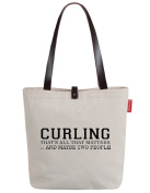 So'each Women's Curling Letters Printed Top Handle Canvas Tote Shoulder Bag