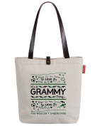 So'each Women's Grammy Letters Printed Top Handle Canvas Tote Shoulder Bag