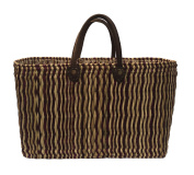 Staw And Leather Picnic Basket Bag Shopper Handmade In Morocco Shopping Ethnic