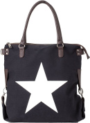 Bags4Less XL Canvas Ladies Handbag with Leather Star / Printstern F3151 - White Star Black, XL