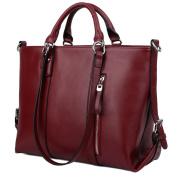Yaluxe 100% Full Leather Women's 3-Way Laptop Office Work Tote Handbag Shoulder Bags