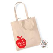 BEST TEACHER APPLE 100% Cotton Tote Bag Gift Present End Of Term Teacher Gift