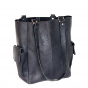 Scaramanga Black Leather Tote Bag