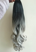 60cm Full Head Clip in Hair Extensions Ombre Curly Wavy Dip Dye 6 Pcs