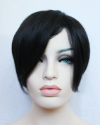 New Capless High Quality Short Black Straight Synthetic Hair Full Wigs for Women