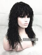 Capless Medium Length African American Style Natural fluffy Long Black Curly Synthetic Hair Full Wig