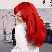 Capless Medium Length Heat Resistant Fibre Europe and America in the New Bright Red Synthetic Hair Full Wig
