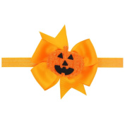 Halloween Pumpkins Baby Bow Ribbon Headband Hair Accessories For Girl Children Kids Elastic Headwear
