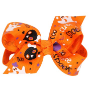 Halloween Princess Baby Girls Hair Bows Clip Printed Ribbon Infant Toddler Hairpins Headwear Kids Hair Accessories